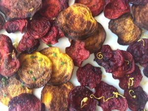beet chips in a single layer