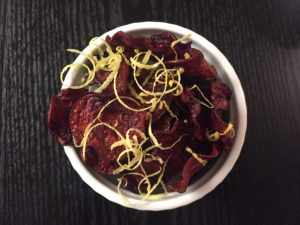 beet chips with lemon zest