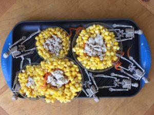 a spooky candy corn scene